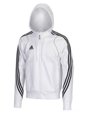 Pánská mikina-bunda s kapucí Adidas na zip T8 bílá 298e5554e7
